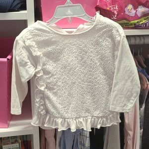 Zara baby girls white long sleeve shirt